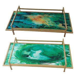 Constancia2 Piece Handcrafted Rectangular Tray Set