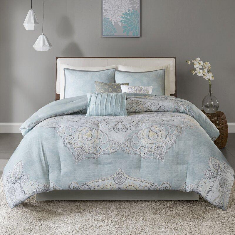 Alcott Hill Kappler Reversible Damask Cotton 7 Piece Comforter Set