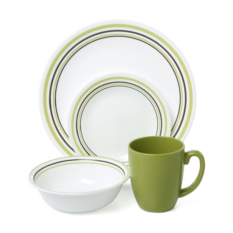 Livingware Garden Sketch Bands 16 Piece Dinnerware Set, Service For 4