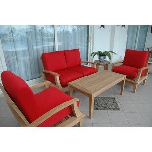 Brianna 4 Piece Teak Sofa Seating Group with Sunbrella Cushions