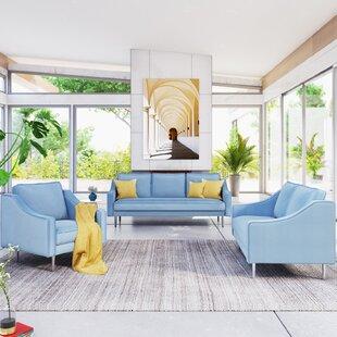 Galette 3 Piece Velvet Living Room Set by Everly Quinn