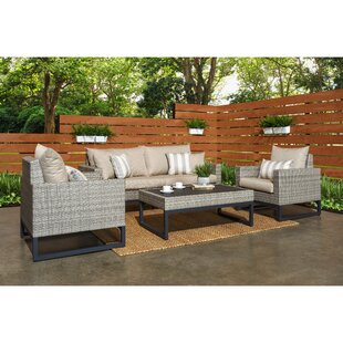 Minor 4 Piece Rattan Sunbrella Sofa Set with Cushions