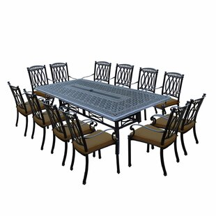 Oakland Living Morocco Aluminum 13 Piece Dining Set with Cushions
