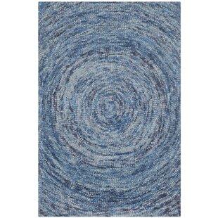 Ikat Hand Tufted Wool Blue Area Rug