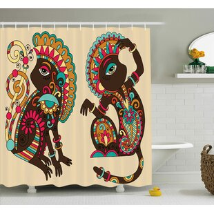 Barloy Indian Ethnic Patterns Shower Curtain + Hooks