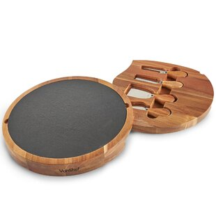 Acacia Slate 6 Piece Cheese Board Set By VonShef