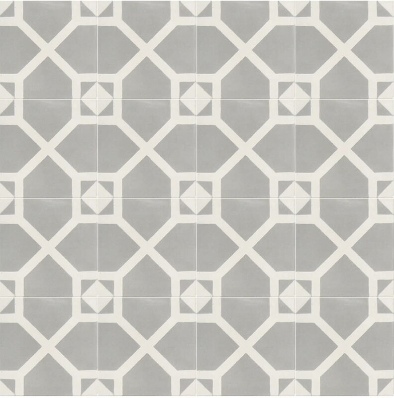 "Amoud 8"" x 8"" Handmade Cement Tile in Gray/White #cementtile #modernfarmhouse #rusticmodern"