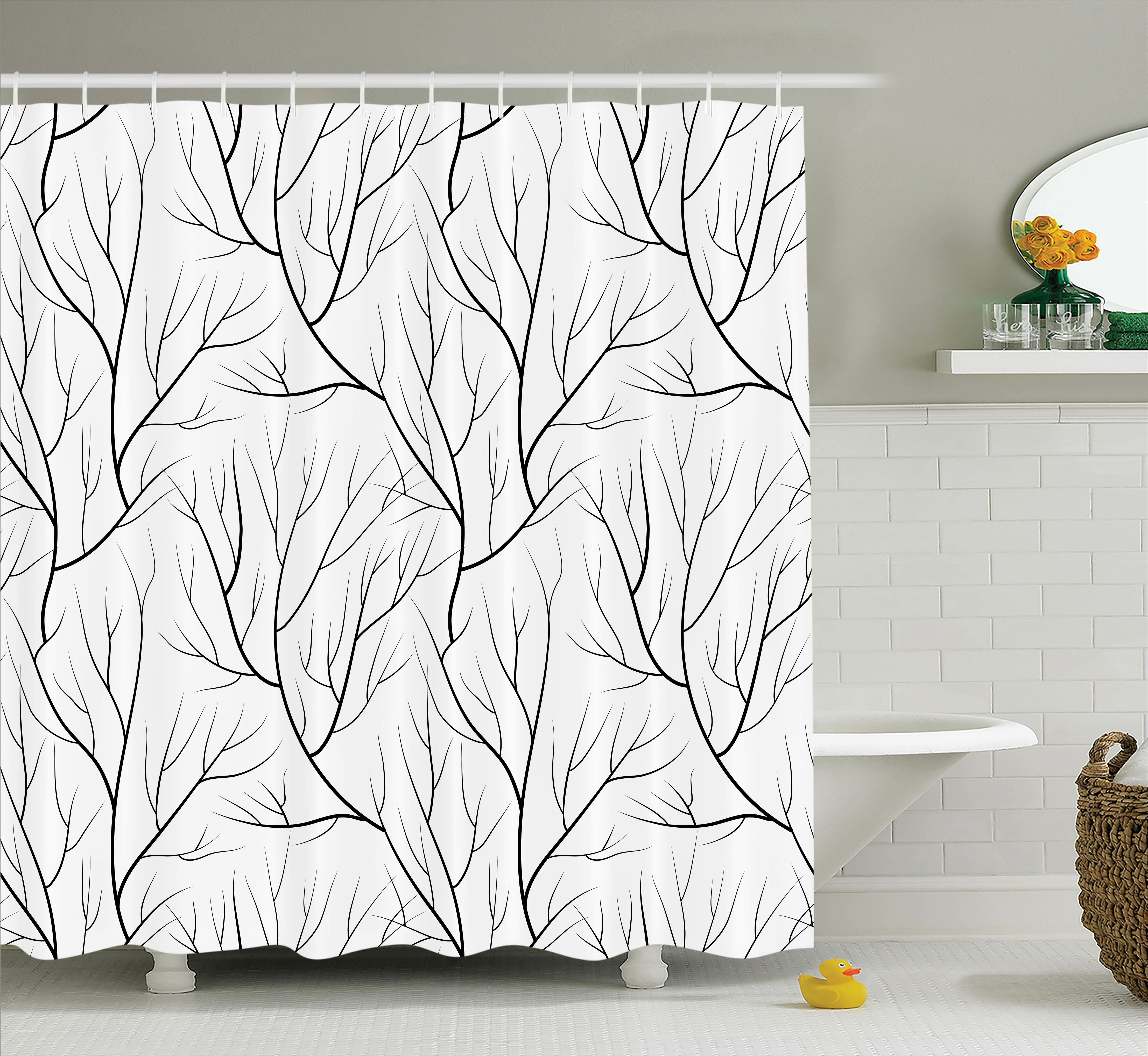 Ebern Designs Corinne Winter Tree Leaf Nature Theme Leafless Delicate Branches Pattern Japanese Style Shower Curtain