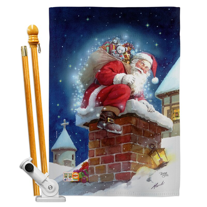 Breeze Decor Chimney Santa Impressions Decorative 2 Sided Polyester 40 X 28 In Flag Set Wayfair