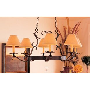 Handforged Oval 6-Light Shaded Chandelier by 2nd Ave Design