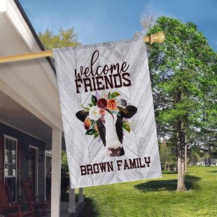 Floral Welcome Friends Cow 2-Sided Polyester 3 X 2 Ft. House Flag By Boutique Monogram