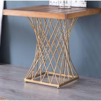 Latitude Run Rhodell Granite Top Metal Frame End Table Wayfair