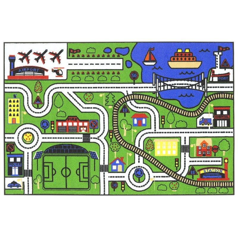 Zoomie Kids Stanton City Road Map Green Area Rug Reviews Wayfair Ca