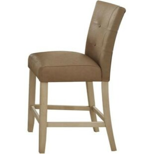 Basham Leatherette Counter Height Solid Wood Dining Chair (Set of 2) by Charlton Home