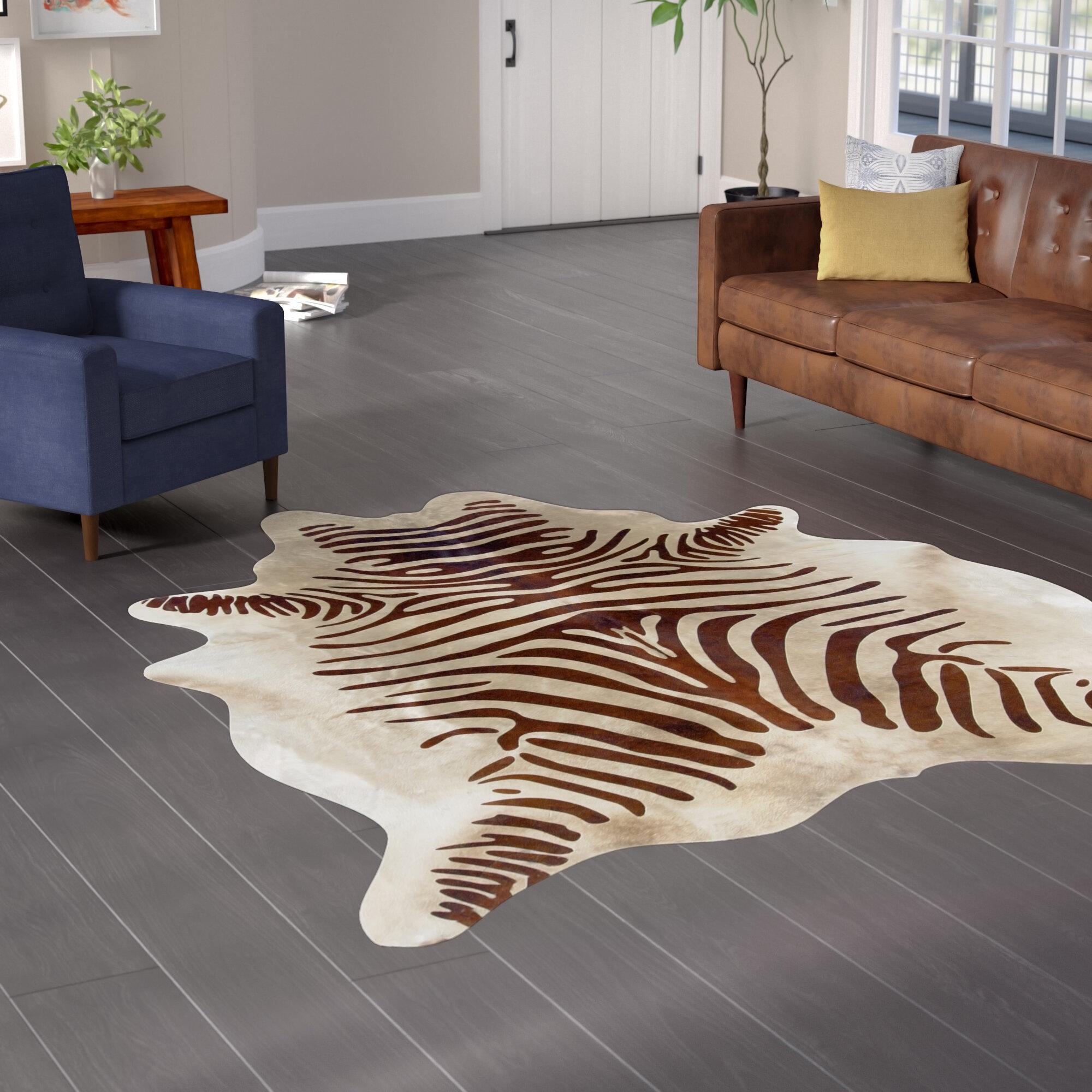 World Menagerie Lahti Zebra Cowhide Beige Area Rug Reviews Wayfair