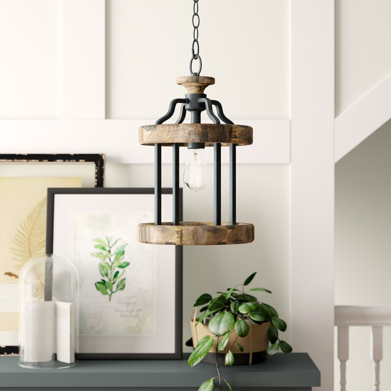 Birch Lane Neville 1 Light Lantern Cylinder Pendant With Wood Accents Birch Lane