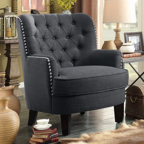 Ivo Wingback Chair ClassicLiving Upholstery Colour: Carbon