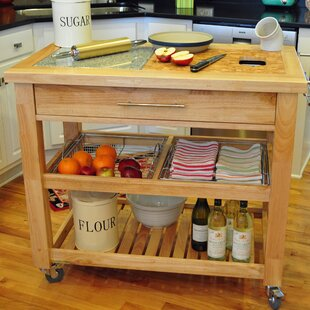 Sydney Kitchen Island with Granite and Wood Top by Ebern Designs