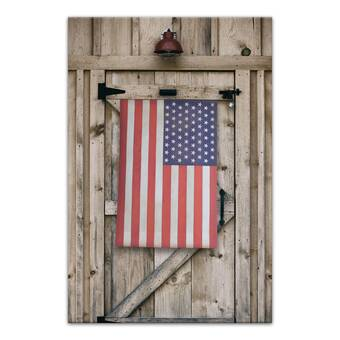 'American Flag Barn Door' on Wrapped Canvas