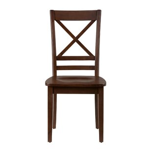 Dorothy 'X' Design Back Solid Wood Dining Chair (Set of 2) Longshore Tides