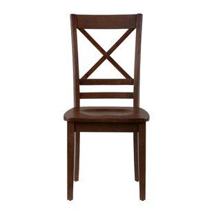 Dorothy 'X' Design Back Solid Wood Dining Chair (Set of 2) Longshore Tides