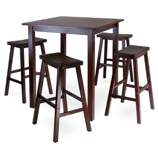 Best Reviews Auburn Road 5 Piece Dining Set with 4 Saddle Seat Stools ByRed Barrel Studio