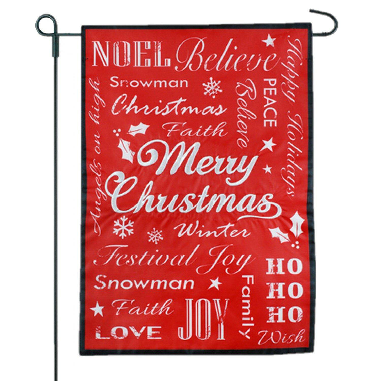 Jec Home Goods Christmas Typography Black 2 Sided Burlap 18 X 13 In Garden Flag Wayfair