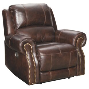 Pitcock Leather Power Recliner Hot Bargains! 55% Off by Red