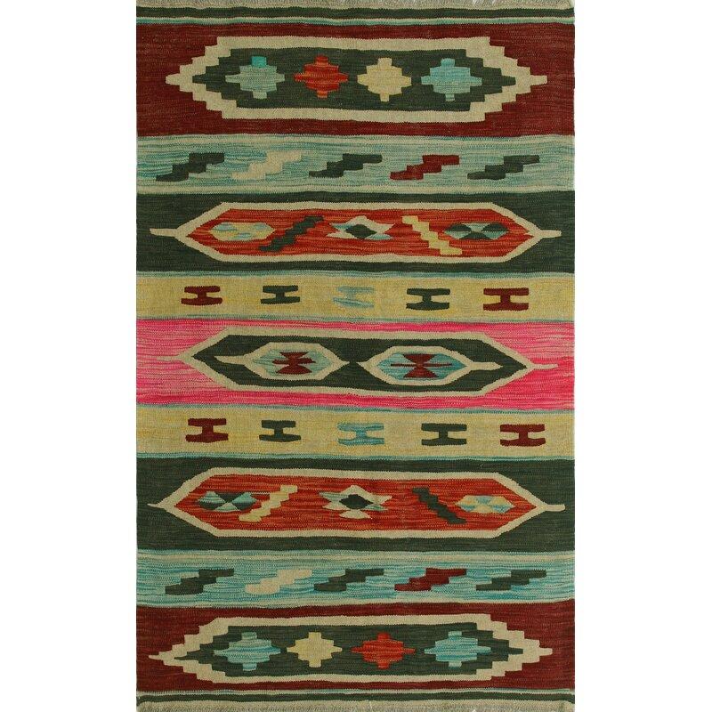 World Menagerie Rucker Handmade Kilim Wool Pink Orange Green Rug Wayfair