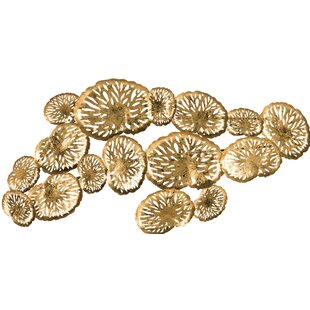 Merveilleux Coral Gold Foil Plate Wall Décor