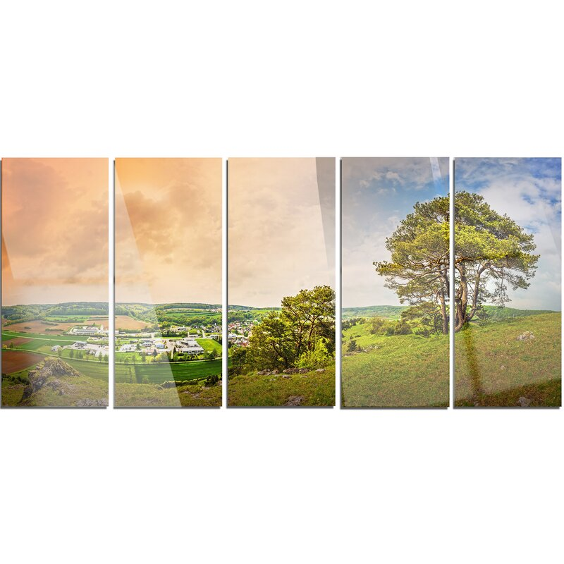 'Mountains in Germany Panorama' 5 Piece Photographic Print on Metal Set