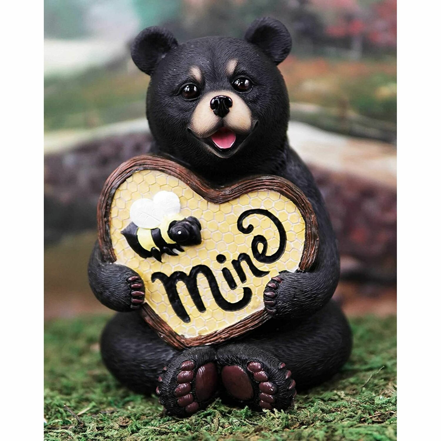 Loon Peak Madonna Whimsical Bee Mine Romantic Bear Holding Heart Shaped Honeycomb Hive Sign With Wooden Borders Wayfair