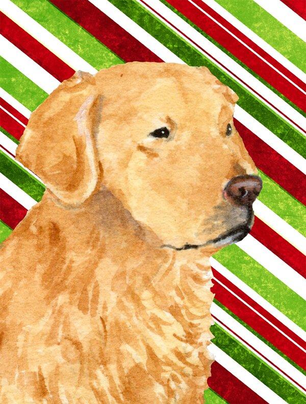 golden retriever candy cane holiday christmas 2 sided garden flag - Golden Christmas 2