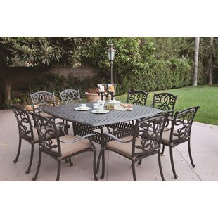 Calhoun 9 Piece Metal Frame Dining Set with Cushions by Fleur De Lis Living