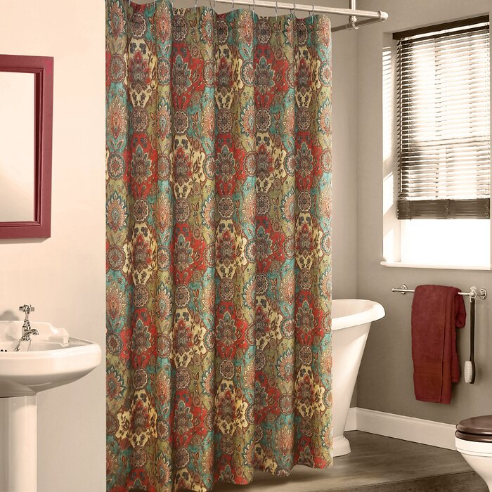 Colorful Floral Geometric Printed Design 70x70 Kashi Home SC045415 70x70 Emery Fabric Shower Curtain