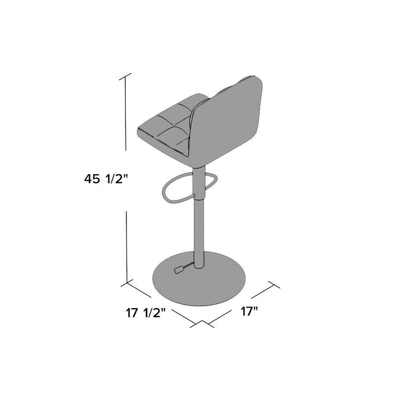 Delightful Full Back Adjustable Height Swivel Bar Stool