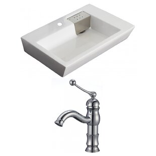 Compare prices Ceramic Rectangular Vessel Bathroom Sink with Faucet and Overflow ByAmerican Imaginations