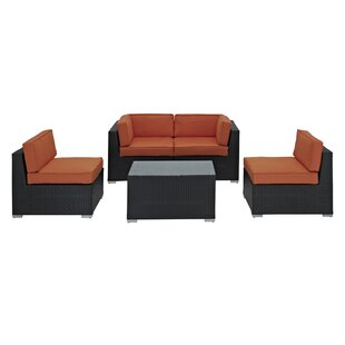 Delight 5 Piece Rattan Sofa Set with Cushions