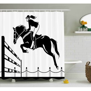 Lourdes Jockey Girl Jumping Single Shower Curtain by Zoomie Kids Coupon