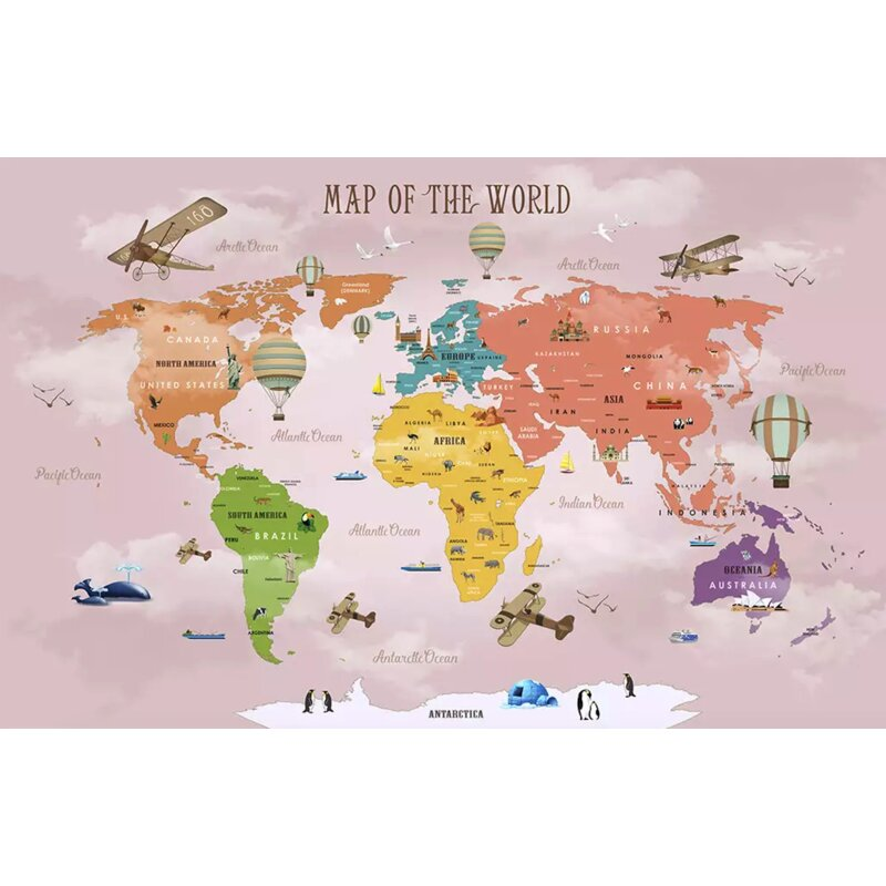 Bloomsbury Market Anandwati Colorful World Map Airplane And Hot Air Balloon Wall Mural Wayfair