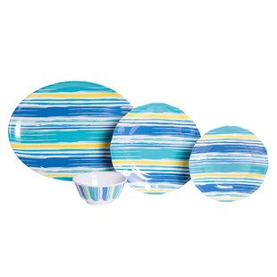 Whitson By The Sea Melamine 19 Piece Dinnerware Set, Service for 6