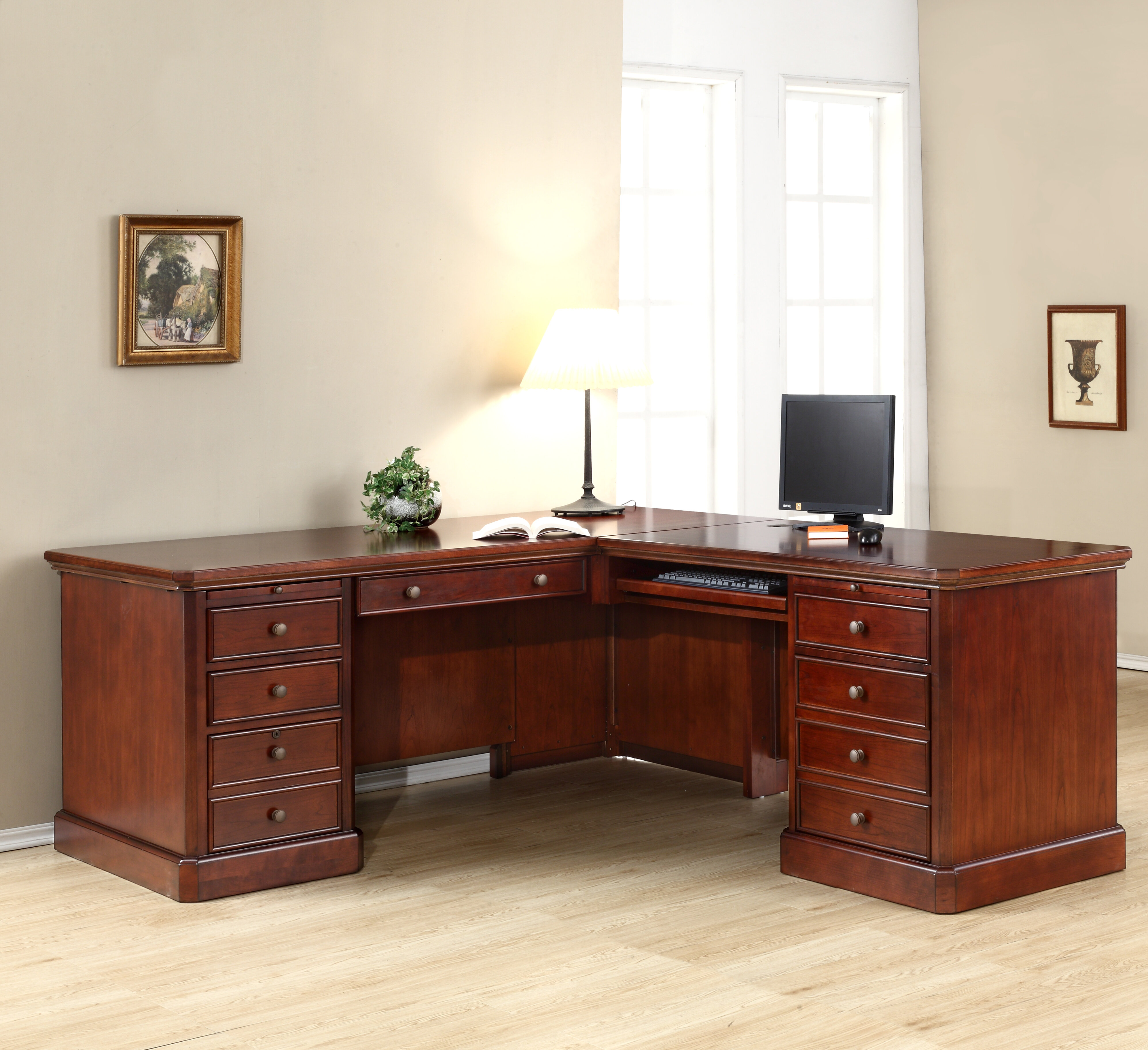 Magnificent Spielman Solid Wood L Shape Executive Desk Home Interior And Landscaping Synyenasavecom