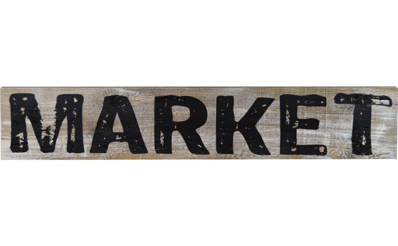 'Market' Textual Art on Wood