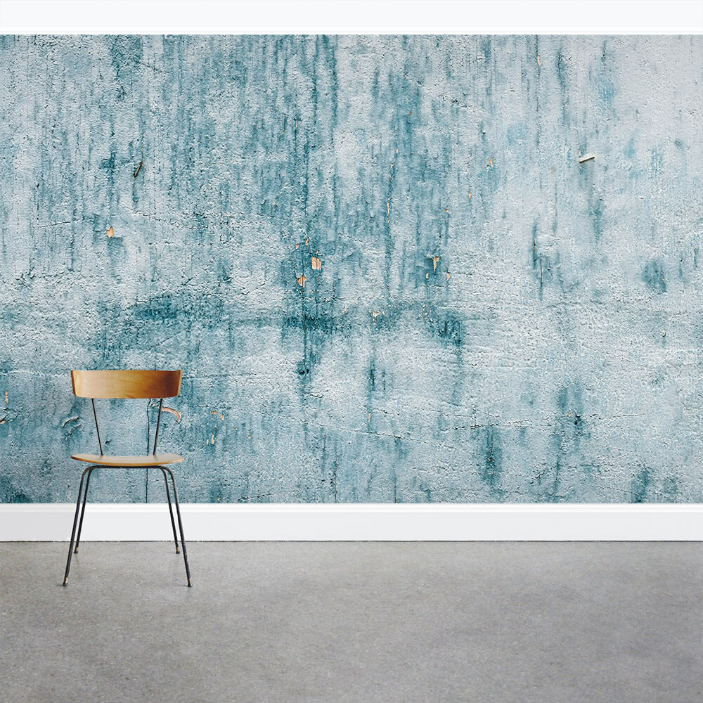 Wallums Wall Decor Chipped Blue Concrete 8 x 144 3 Piece Wall