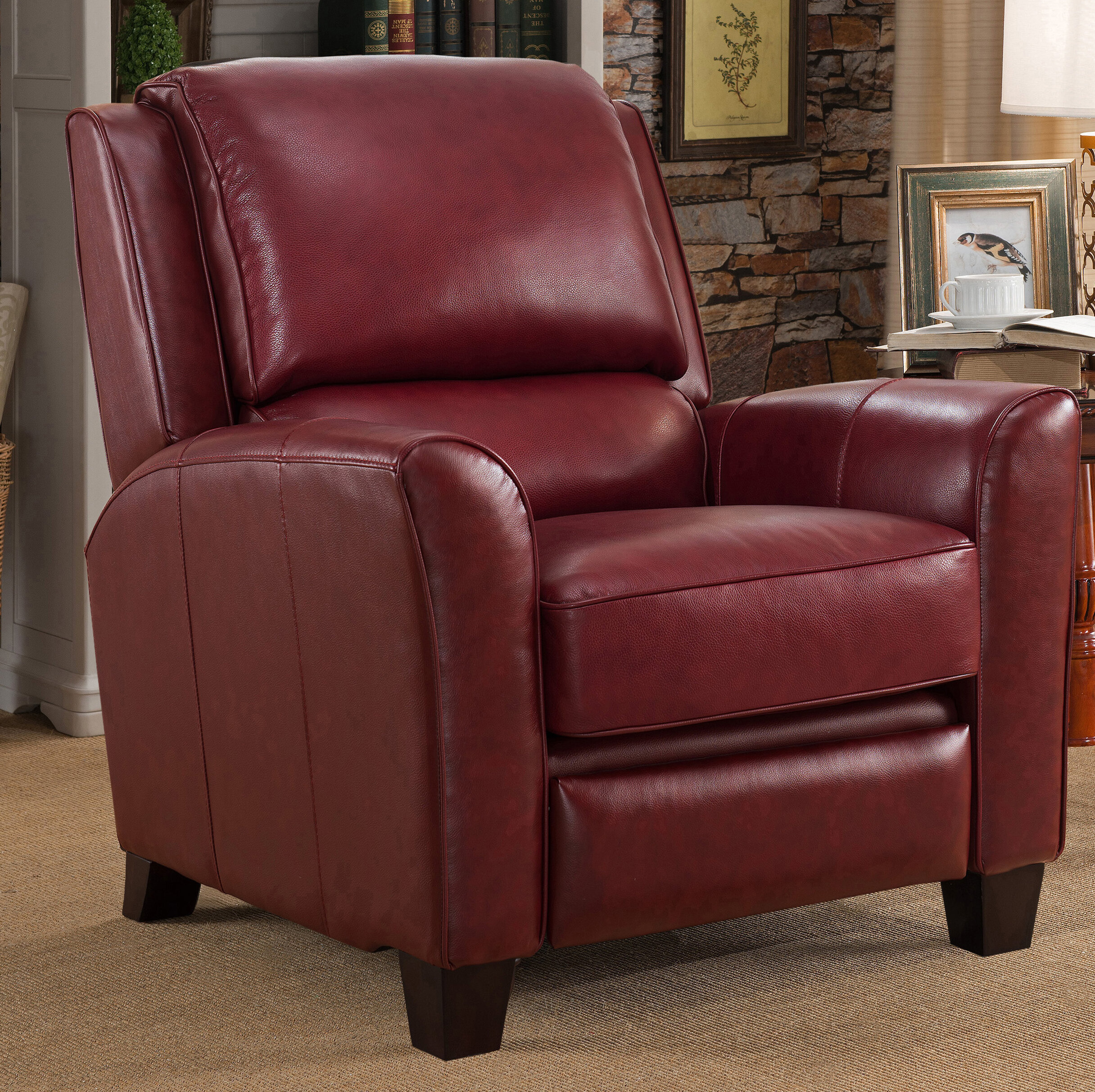 Surrett Red Leather Manual Recliner