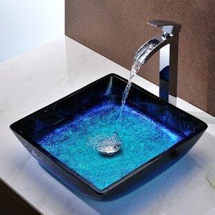 Read Reviews Viace Glass Square Vessel Bathroom Sink ByANZZI