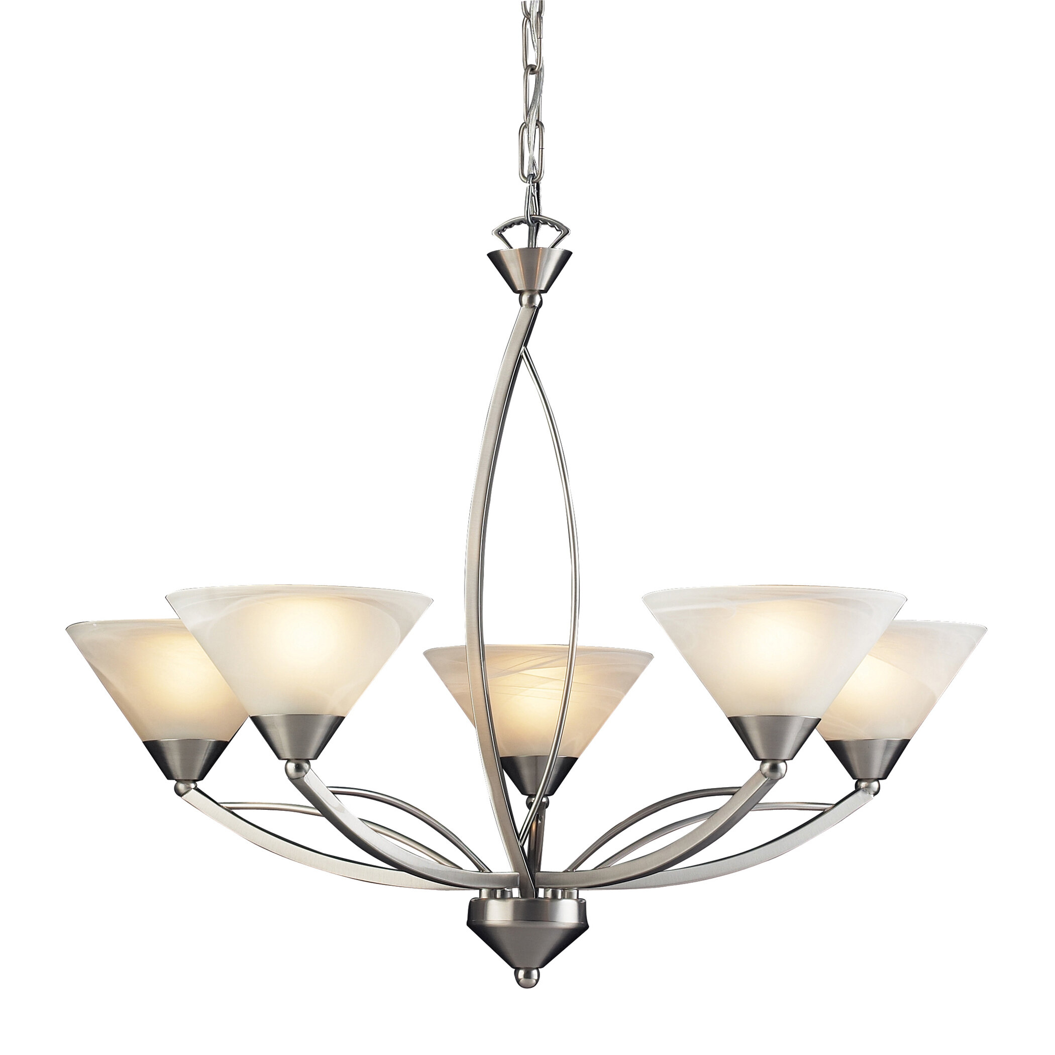 World Menagerie Beecroft 5 Light Glass Shaded Chandelier & Reviews