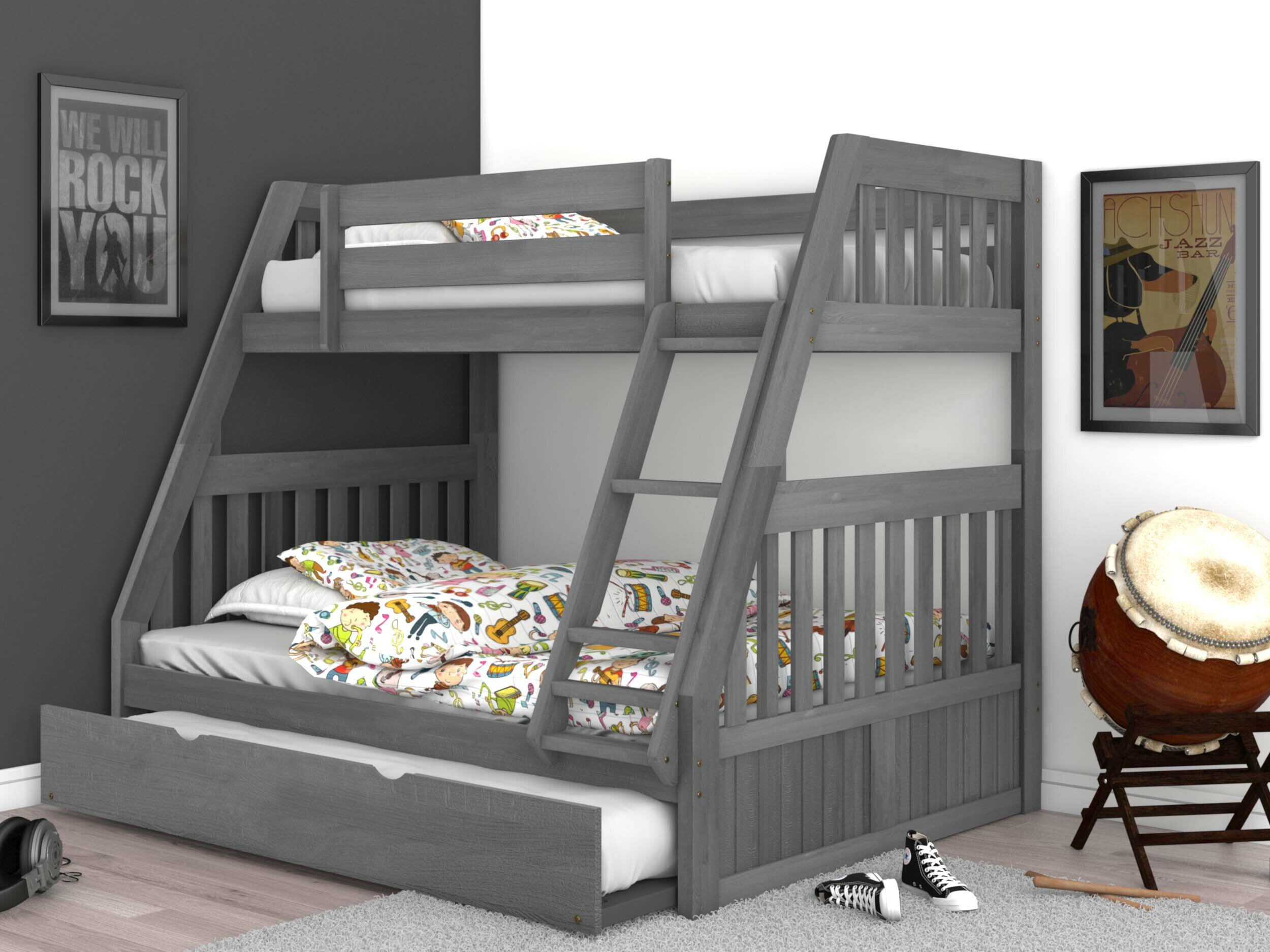 Picture of: Greyleigh Boston Twin Over Full Bed Bunk With Trundle Reviews Wayfair