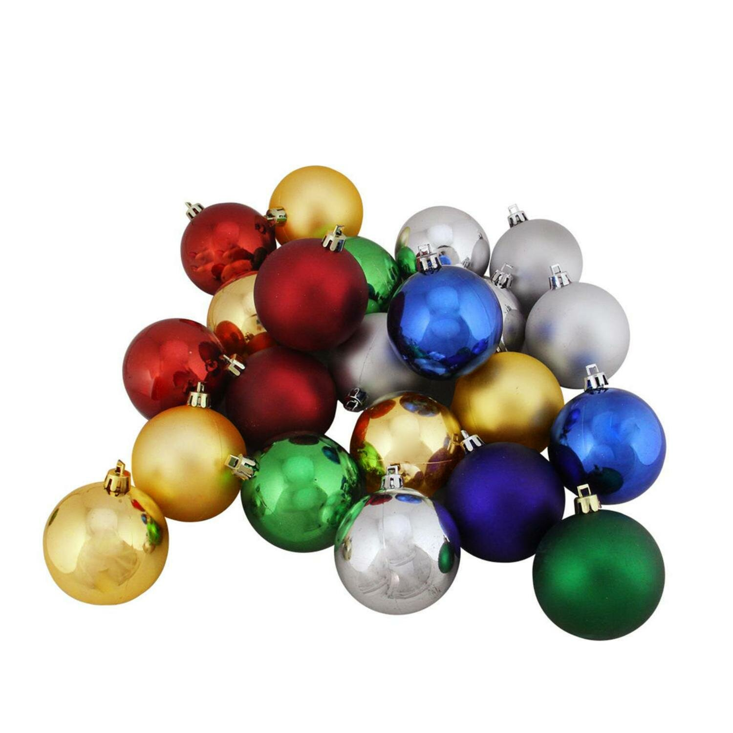 Northlight 20ct Shatterproof Traditional Multi Color Shiny and Matte ...