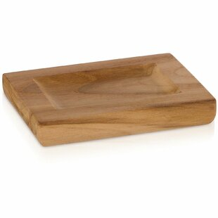 Union Rustic Trevor Teak Wood Round Soap Dish